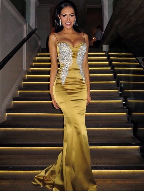 Golden Evening Dresses Long Cheap With Lace Mermaid Evening Wear Prom Dresses