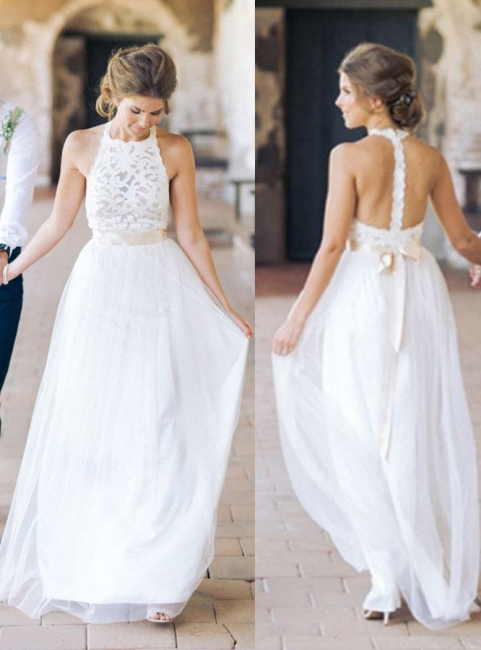Designer White Wedding Dresses Beach With Lace Sheath Dress Wedding Gowns Bridal