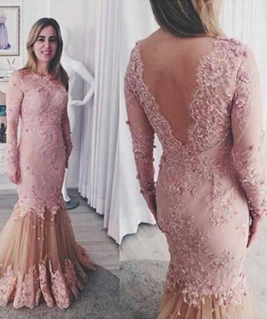 Günstige Rosa Brautmutterkleider Mit Ärmel Spitze Abendkleider Kleider für Hochzeitsparty