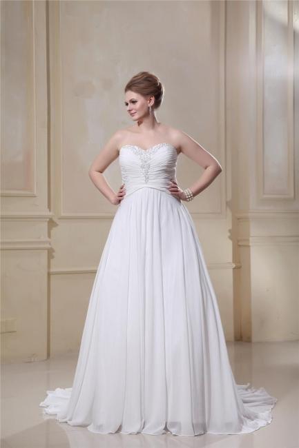 Weißes Übergröße Brautkleider Chiffon Strand Hochzeitskleider Große Größe