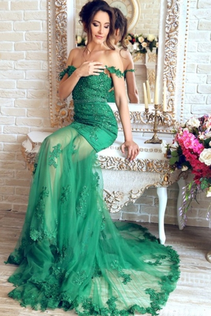 Green Long Evening Dresses Cheap Lace Mermaid Off Shoulder Evening Wear Prom Dresses