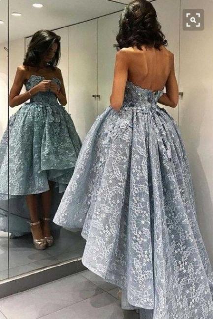 Blau Abendkleider Lang Günstig Spitze A Line Abiballkleider Onlien Kaufen
