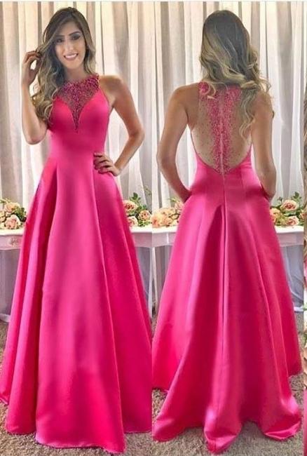 Fuchsia long evening dresses cheap satin prom dresses evening wear online