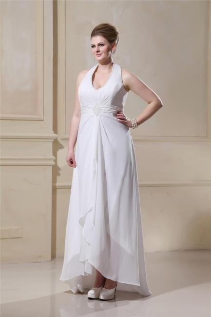 Large Size Wedding Dresses White Chiffon Halter Wedding Gowns Plus Size Custom Moderate