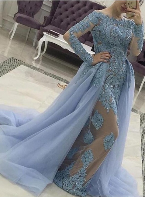 Designer Blue Evening Dresses With Sleeves Cheap Long Evening Dresses Lace Dresses