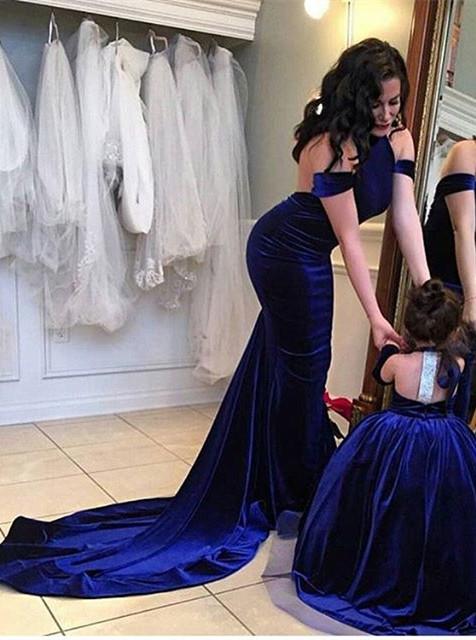 Elegante Lange Abschlussballkleider Abendkleider Royal Blue Meerjungfrau Abendmoden