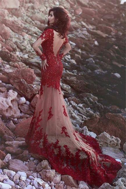 Günstig Abendkleider Mit Ärmel Meerjungfrau Rot Spitze Abendmoden Abiballkleider