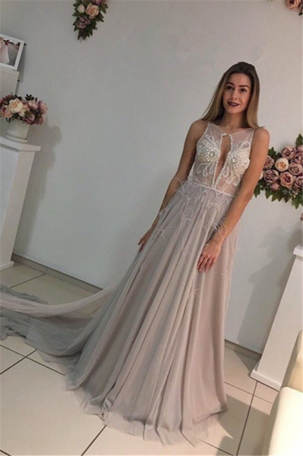 Elegant evening dresses long straps tulle prom dresses evening wear