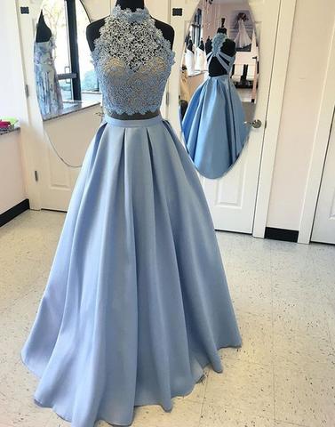Blau Abendkleider Lang Spitze 2 Teiler A Linie Chiffon Abendmoden Abiballkleider