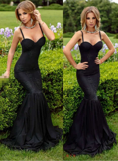 Lace Evening Dresses Black Long Evening Wear Mermaid Prom Dresses
