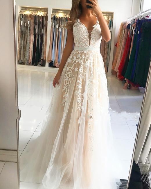 Elegante Abendkleider Spitze Lang | Weißes Abendkleid Bodenlang