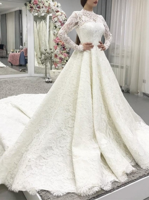Modern lace wedding dresses with sleeves | Wedding dresses A line