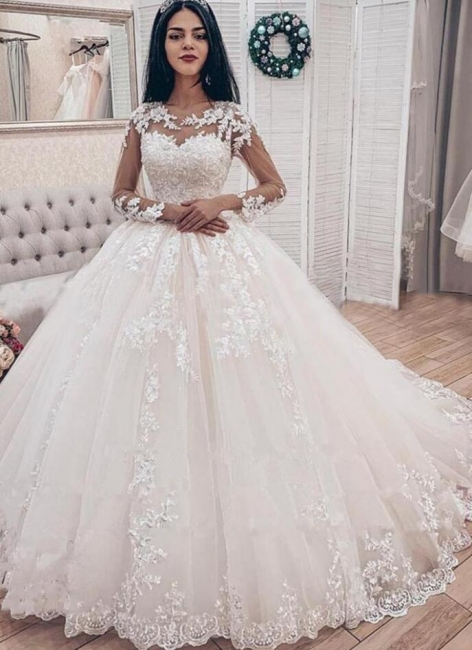 Designer wedding dresses with sleeves | Lace wedding dresses A line