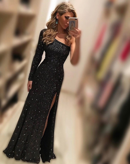 Black evening dresses long cheap with sleeves sheath dresses prom dresses online