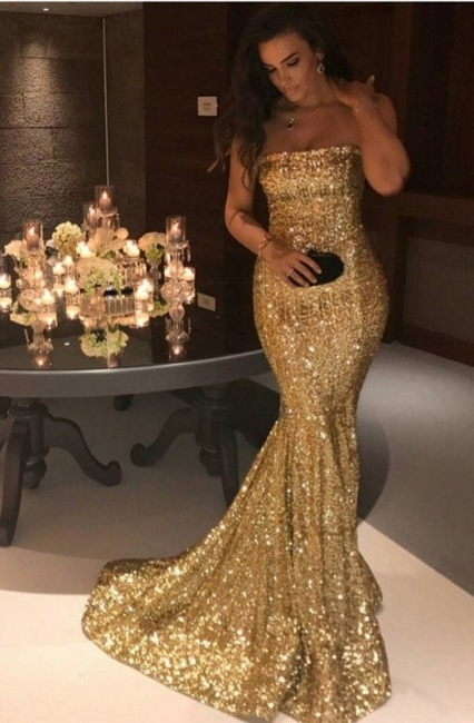 Golden Evening Dresses Long Cheap Sequined Mermaid Prom Dresses Evening Wear Cheap Online