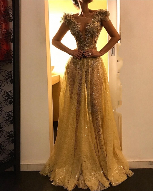 Abendkleid Gold   Spitze Abendkleider Lang Günstig