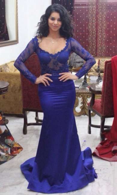 Slim evening dresses royal blue with lace sleeves prom dresses online
