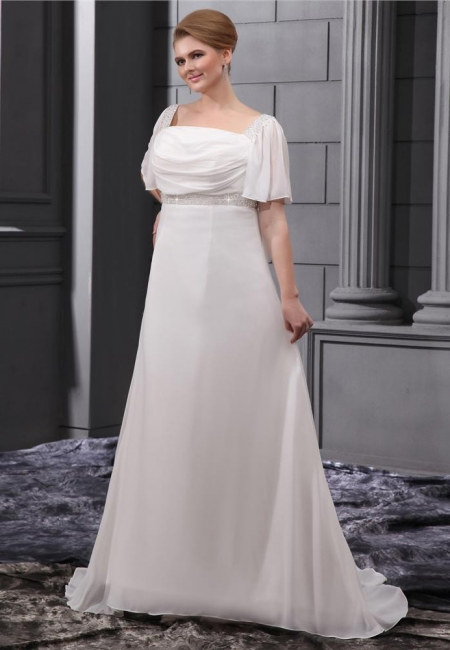 White Wedding Dresses Plus Size With Sleeves Beaded A Line Chiffon Plus Size Wedding Gowns