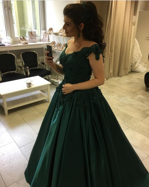 Modern green evening dresses long with lace princess prom dresses floor length evening wear
