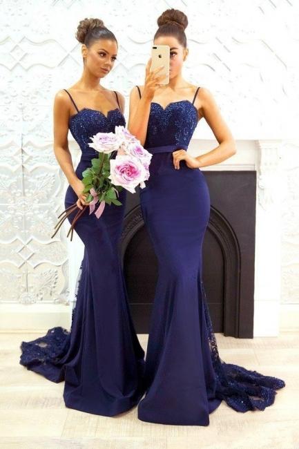 Blau Brautjungfernkleider Lang Günstig Meerjungfrau Kleider Für Brautjungfern Hochzeit