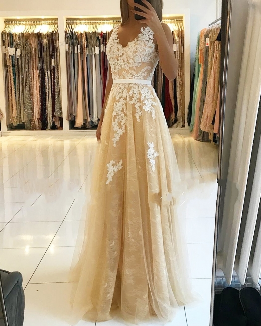 Fashion Evening Dresses Champagne Lace Long Evening Wear Prom Dresses Online