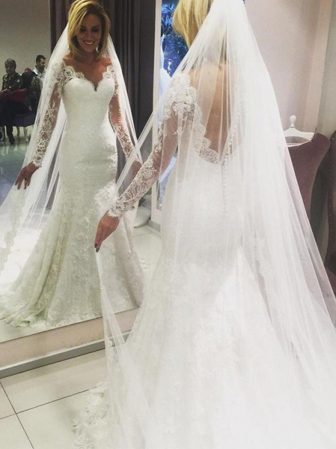 Modern white lace wedding dresses with sleeves mermaid wedding gowns cheap online