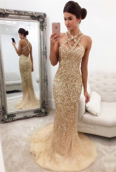 Luxury Abschlussballkleider Lang Golden Perlen Meerjungfrau Ballkleider Online