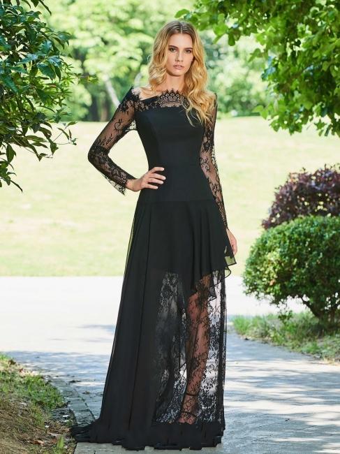 Elegant black evening dresses with sleeves sheath dresses lace evening wear