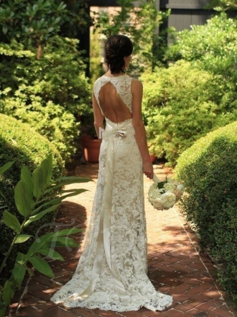 White Lace Wedding Dresses Cream Straps Sheath Dresses Wedding Dresses With Train