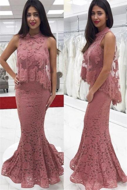 Designer Evening Dresses Long Lace Pink Mermaid Evening Wear Party Dresses Cheap