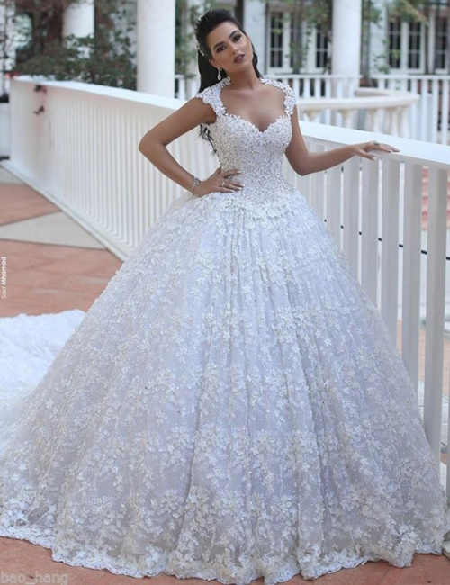 Luxury princess wedding dresses lace beaded wedding gowns cheap online
