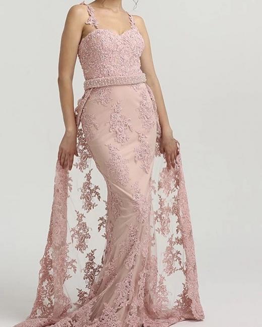Pink Evening Dresses Long Lace | Evening Wear Prom Dresses Online