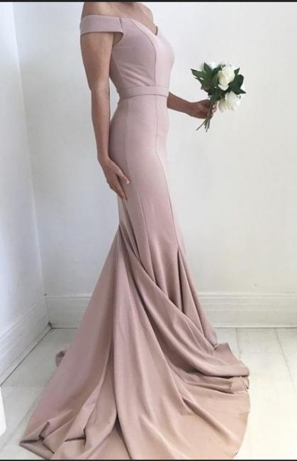 Schlicht Rosa Abendkleider Lang Günstig Schulterfrei Meerjungfrau Chiffon Abendmoden Abiballkleider