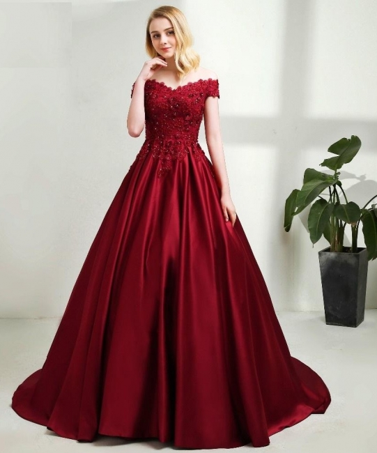Red evening dresses long with lace princess evening wear prom dresses blue