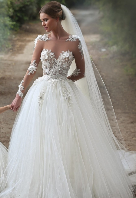 Sexy Juwel Long Sleeve Ball Gown Boho Wedding Dresses With Lace