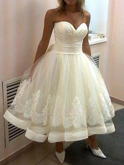 Fashion Weiße Kurze Brautkleider Prinzessin Spitze Hochzeitskleider