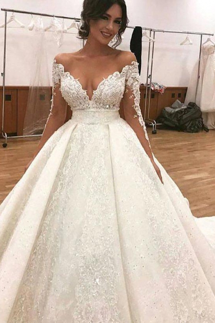 Luxury princess wedding dresses with sleeves white bridal gowns cheap online