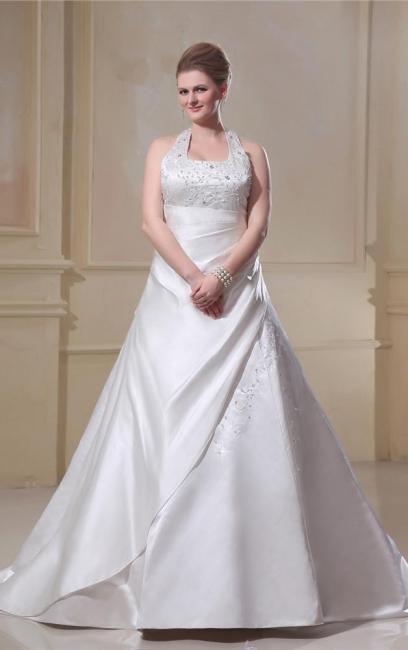 Plus Size Wedding Dresses White Halter Satin Wedding Dresses Large Size Custom Moderate