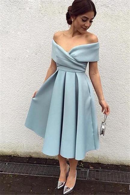 2021 Kurz Cocktailkleider Blau Schuterfrei Satin A Line Wadenlang Abendkleider Abendmoden Online