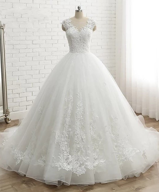 Modern White Wedding Dresses With Lace Princess Organza Wedding Gowns Online