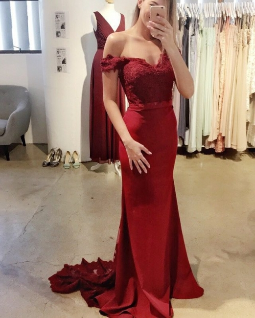 Wine red evening dresses cheap prom dresses with lace satin evening wear