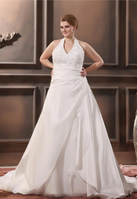 White Plus Size Wedding Dresses With Lace Taffeta A Line Large Size Wedding Gowns Custom Moderate
