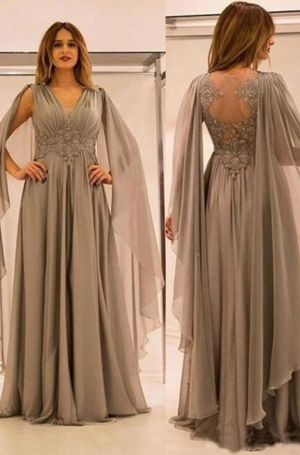 Gray Long Chiffon Evening Dresses Floor Length Prom Dresses Evening Wear Online