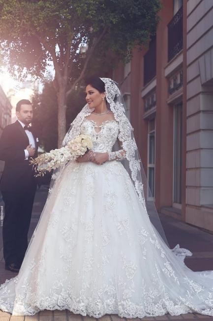 Lang Ärmel Weiß Brautkleider Mit Spitze Prinzessin Hochzeitskleider Brautmoden