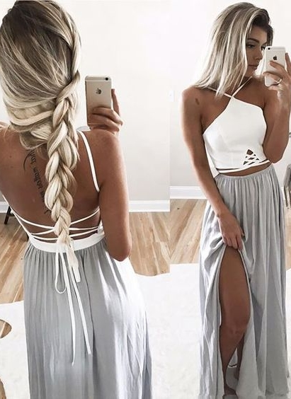 White Silver Long Prom Dresses Chiffon Floor Length Evening Wear Prom Dresses