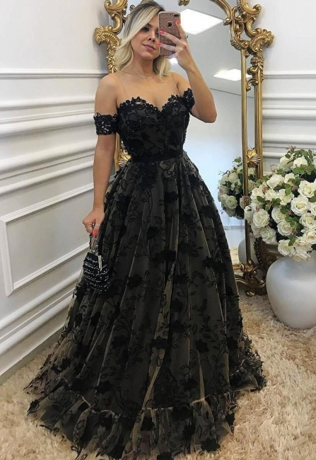 Designer Evening Dresses Black Long Off Shoulder A Line Lace Evening Dress Online