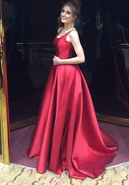 Fashion Evening Dresses Long Red A Line Satin Floor Length Evening Wear Prom Dresses