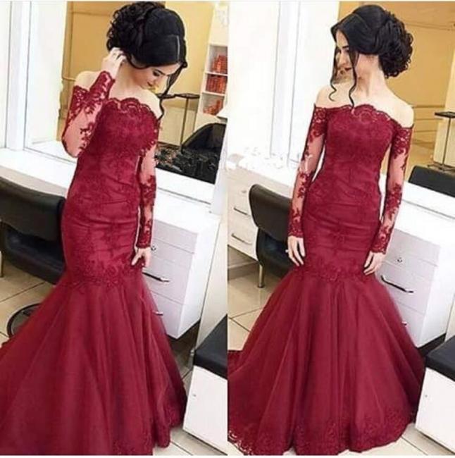 Wine Red Long Sleeves Wedding Dresses Lace Mermaid Wedding Dresses Bridal Fashion Cheap