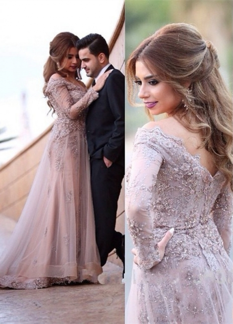 Elegant Evening Dresses Long Sleeves With Lace Crystal Evening Wear Party Dresses