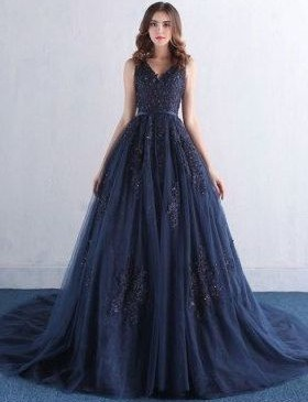 Navy Blue Evening Dresses Long Lace Tulle Prom Dresses Prom Dresses Online